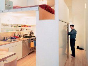 giường ngủ ở trên bếp đun ở dưới