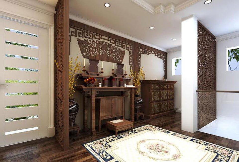 Cách bố trí phòng khách có bàn thờ