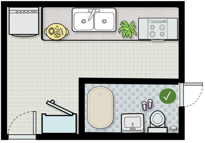 Nhà vệ sinh kỵ chung với bếp