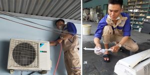 Nhân viên đang thực hiện quy trình tháo lắp di dời máy lạnh chuyên ngiệp