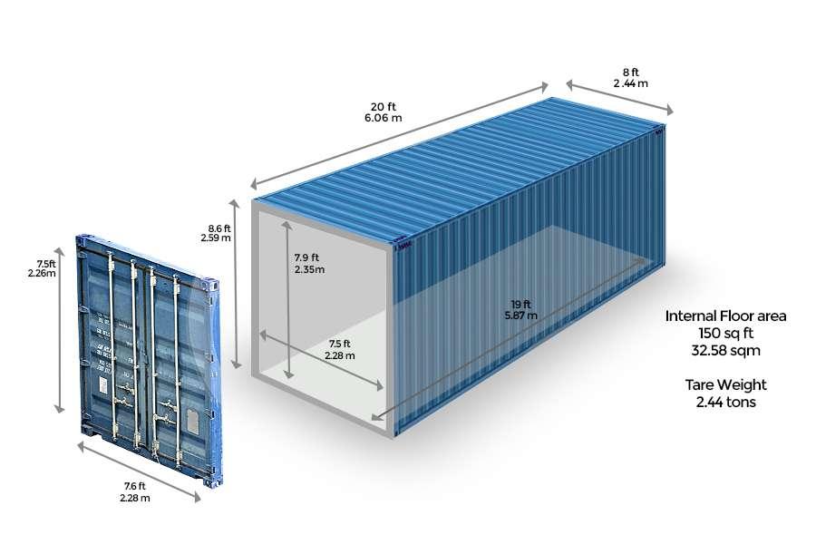 Container 20 feet chở được bao nhiêu tấn hàng?